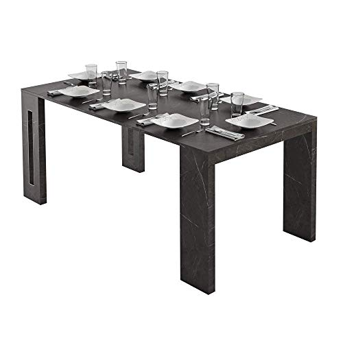 Selsey Romansia Extendable Rectangular Dining Table with Black Marble Effect 90 cm
