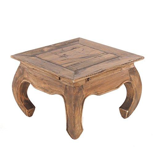 Vintage Design OPIUMTISCH MAHA 50 | 50x35cm(LxH), Recyclingholz | Asiatischer Beistelltisch, Couchtisch, Beistelltisch aus Vollholz | Farbe: 02 Hellbraun
