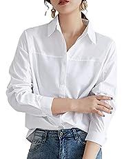 (スイーヤ) シャツ ブラウス レディース ワイシャツ シンプル 綿 長袖 おしゃれ 体型カバー 着痩せ フォーマル トップス カジュアル 無地 柔らか 上質 通勤 発表会 OL 事務服