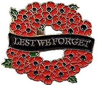 Poppy Wreath Lest We Forget Lapel Pin Badge