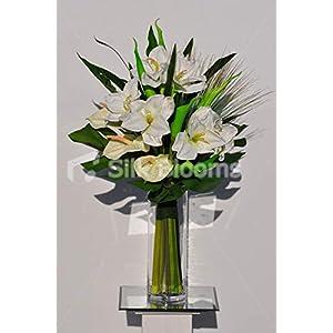 Silk Blooms Ltd Artificial White Fresh Touch Amaryllis and Anthurium Floral Arrangement w/Green Goddess Lilies