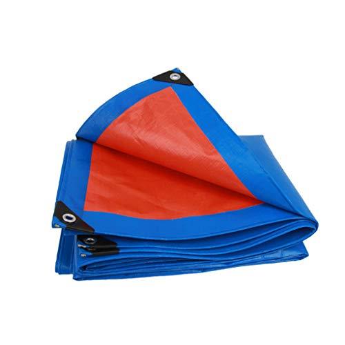 Zzye Lona Tarra poli de alta resistencia, cubierta protectora multipropósito - duradera, impermeable, resistente al clima, resistente a rasgón y lágrimas, grosor 0,32 mm, 160 g / m2, azul + naranja lo