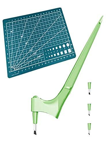 Craft Schneidewerkzeuge,Präzisions-Edelstahl-Bastelmesser mit 360-Grad-Drehklinge,Kunst-Schneidewerkzeug für Handwerk,Hobby,Scrapbooking,Schablone (Grün Set)
