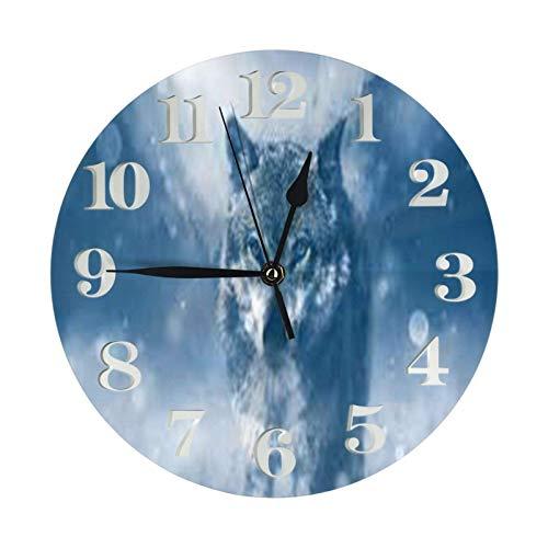 ZCHW Reloj de Pared Wolf Snow Relojes Decorativos a Prueba de Agua Reloj Ligero con manecillas de números Romanos Reloj de Pared Redondo Duradero