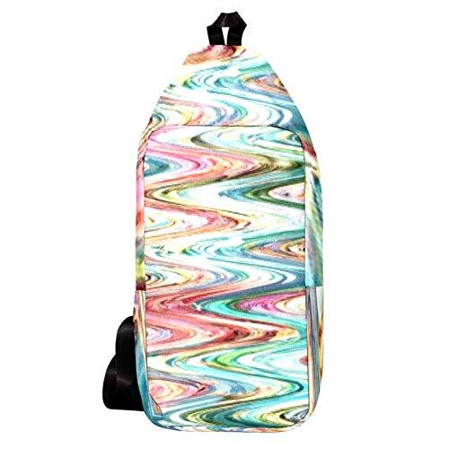 EZIOLY Gewellte Ölfarbe Schulterrucksack Sling Bag Crossbody Tasche Reise Wandern Tagesrucksack für Männer Frauen