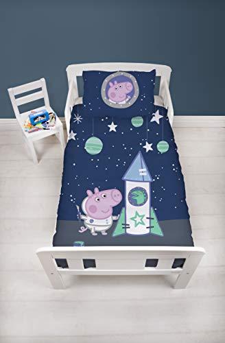 Peppa Pig Funda de edredón Oficial de Peppa George Pig para Cuna, diseño Espacial, Juego de Ropa de Cama y Funda de Almohada, Color Azul