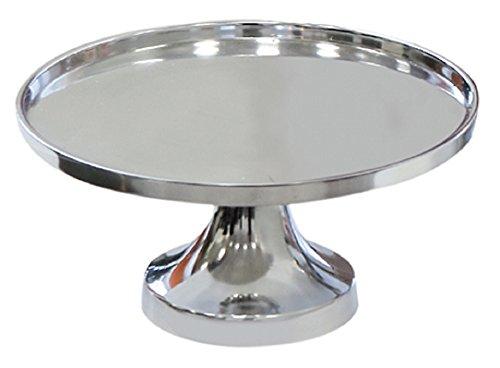 CASABLANCA 1 x Assiette décorative sur Pied Aduro Aluminium Poli Rond Ø 27 cm Mariage Décoration de Table Support de gâteau