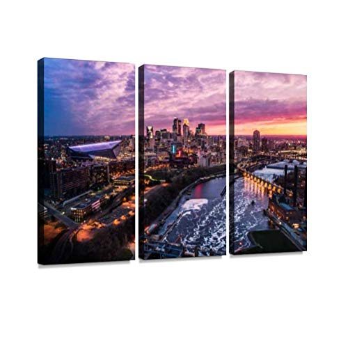 BELISIIS Minneapolis Skyline at Dusk Wall Artwork Exclusive Photography Vintage Abstract Paintings Print on Canvas Home Decor Wall Art 3 Panels Framed Ready to Hang
