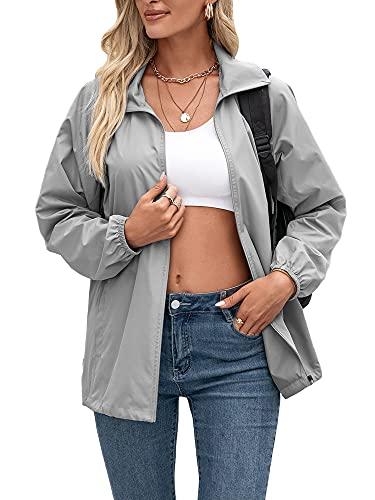 YILEEGOO Chaqueta cortavientos para mujer y chaqueta deportiva, gris, M