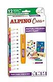 Lapiz 3D Alpino Crea+ - Pintura 3D Efecto Cristal con 12 Colores - Decoracion y Manualidades en 3D para Madera, Textil, Tela, Piedra - Incluye Aplicador