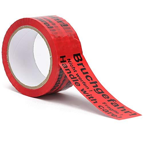 Klebeband| Packband| Paketband mit Hinweis auf Tape (Bruchgefahr - Achtung nicht werfen - Vorsicht zerbrechlich Glas - handle with care – Fragile) (1)
