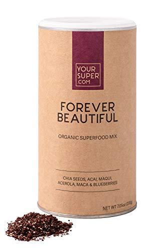 Your Superfoods Forever Beautiful Superfood - Veganes Anti-Aging für strahlende Haut, natürliches Kollagen, Bio-Acai-Beerenpulver-Fruchtmischung mit essentiellen Vitaminen, Non-GMO - 200g