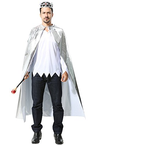 Matissa Cape und Krone Set Kostüm für Erwachsene und Kinder König Königin Prinz Prinzessin Umhang und Krone Cosplay Unisex Kostümfest (König, Silber)