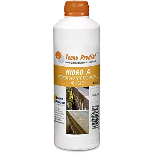 HIDRO A de Tecno Prodist - 1 Litro - Impermeabilizante Transparente al agua, Hidrofugante Incoloro para fachada, tejado, pared, muro, teja, ladrillo y piedra. (A Rodillo, brocha o pulverizador)