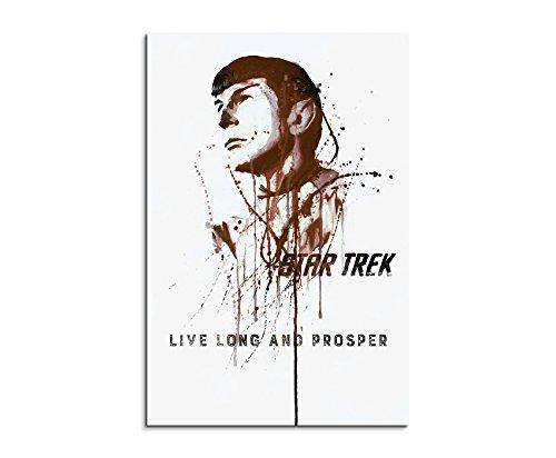 Paul Sinus Art Star Trek Spock 90x 60cm Keilrahmenbild Kunstbild Aquarell Art Wandbild auf Leinwand fertig gerahmt Original Unikat