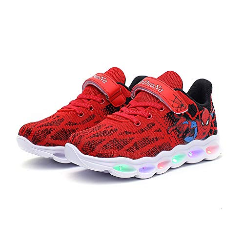 Red Kids Spider-Man Light-up Shoes Breathable Soft Bottom Flash Sneakers 13 Little Kid
