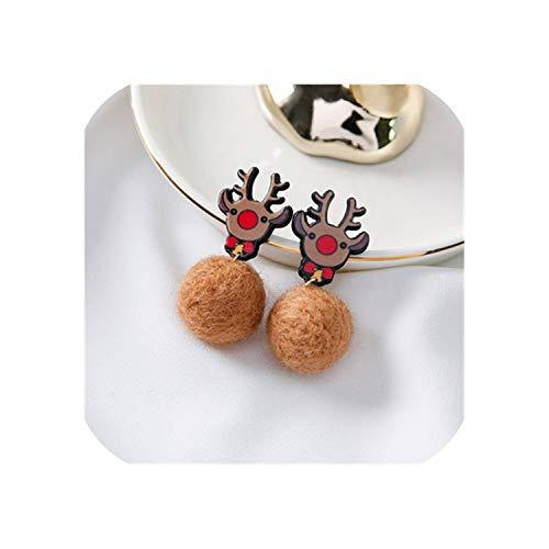 Pendientes de tuerca para mujer, diseño coreano de Navidad, gorro rojo, bonito,...