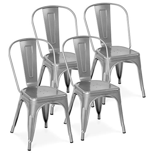 Best Choice Products Set of 4 Stacking Modern Industrial Metal Dining Chairs, Silver