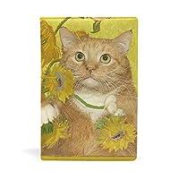Chovy ブックカバー おしゃれ a5 文庫本 高級PUレザー ネコ 猫 猫柄 ヒマワリ 可愛い かわいい 油絵 ハードカバー 革 軽量 耐久性 フリーサイズ ブック収納 資料収納入れ