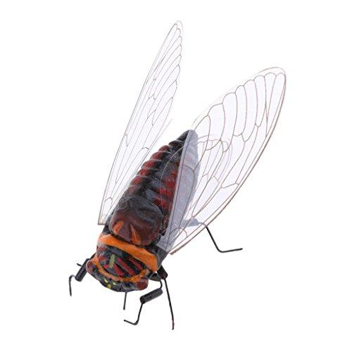 B Baosity Petit été Insecte Statue Arbre Pelouse Ornement Bricolage Animal Sculpture Décor - Cigale