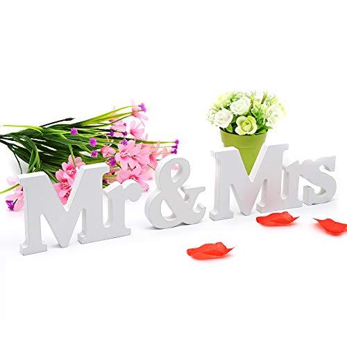 JTOOYS Mr & Mrs Holz Buchstaben, Weiß Hochzeit Dekoration Buchstaben Holz Wörte für Hochzeitstag-Partytisch, Hochzeitsempfangstisch, Hochzeitsfotos-Dekoration (Weiß-Gedruckte Version, 35.7)