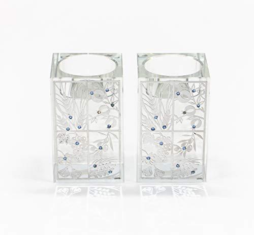 Candelabro de Cristal de Jerusalén Fabricado con Adornos de Plata
