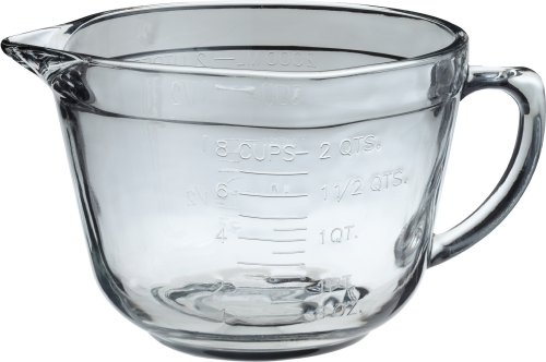 Anchor Hocking 2 Quart Ovenproof Glass Batter Bowl , Clear , 2 L - 81605L11