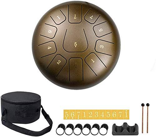 Tambor de Lengua de Acero, Tambores de acero Instrumento de percusión de 11 tonos, tambor de acero, tamburina de la mano, tambor etéreo de 10 pulgadas / 25.4 cm en C Minor, con palillos   Bolsa de tam