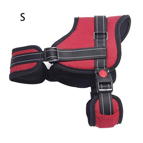 ASOSMOS Hund Verstellbare Klettergurt mit Griff Choke rutschfeste Ausgezeichnet für Ausbildung Wandern - Rot, S
