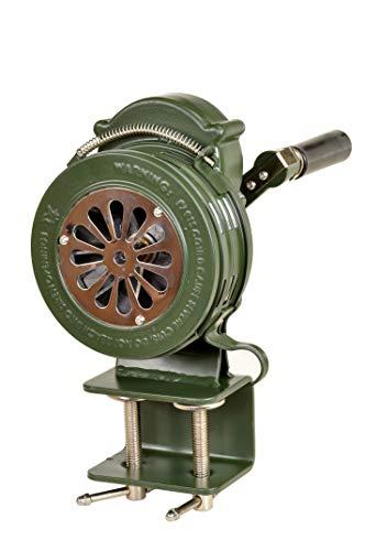 Pro-Lift-Werkzeuge Handsirene 110 dB Aluminium Handkrubel-Sirene Klemm-Fuß Alarm manuell THW Feuerwehr natogrün alu Klemmhalter