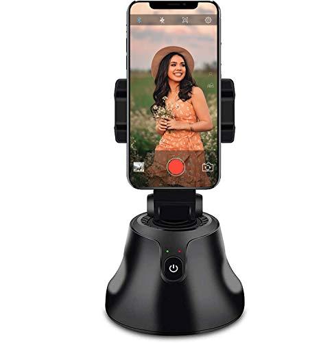 Smart Portable Selfie Stick, 360°Horizontal Rotación Smartphone Gimbal Estabilizador, Auto Face Object Tracking Smart Shooting Gimbal Robot Cameraman, para todos los iPhone y teléfono Android (negro)