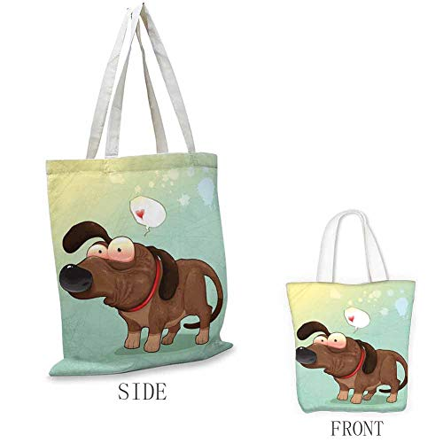 Durable Groceries Bags Puppy in Love Werner Dog Romance Confusion Humor Caricature Style Pet Graphic Machine Washable Durable Eco-Friendly 18'w x 16'h(45cmx40cm)