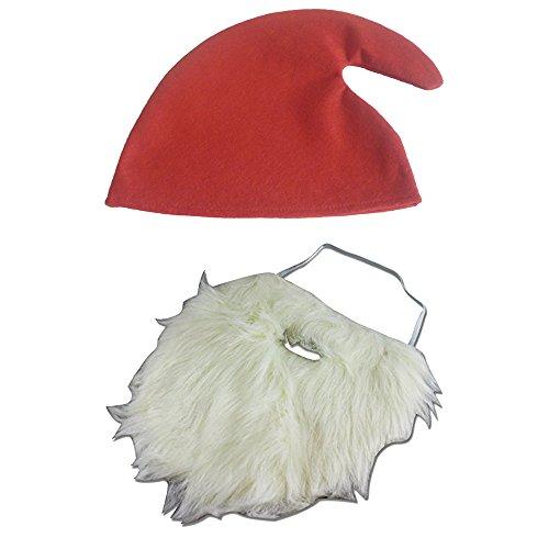 thematys Weißer Weihnachtsmann falscher Bart zum Ankleben + Zwergen-Mütze - Kostüm für Erwachsene & Kinder - perfekt für Fasching, Karneval & Weihnachten - Universal Damen Herren