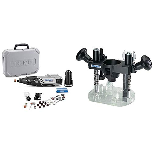 Dremel 8220-2/28 12-Volt Max Cordless Rotary Tool with 28 Accessories & 335-01 Rotary Tool Plunge Router Attachment – Perfect for Wood