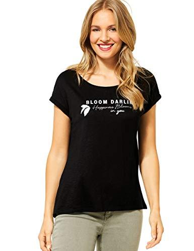 Street One Damen 314885 Kurzarmshirt mit Schriftzug T-Shirt, Black, 38