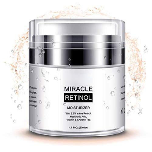 Crema hidratante Retinol para la cara y el área de los ojos – con retinol, aceite de jojoba, vitamina E, mejor día y noche crema antiarrugas para hombres y mujeres 50 g