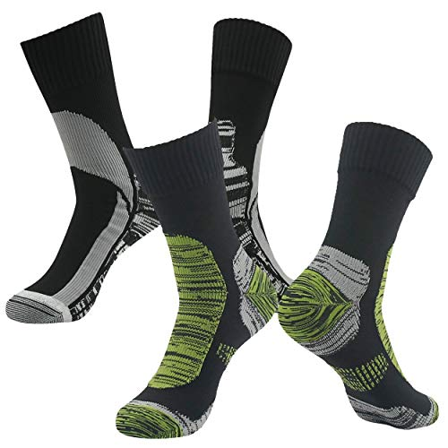 Unique Gifts for Women, RANDY SUN Men's Mid Weight Mid Length Athletic Running Warm Winter Trail Waterproof Wading Socks 2 Pairs Black&Green Size S