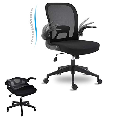 BINGTOO Ergonomic Office Chair with Lumbar Support, Foldable Mesh Backrest Computer Desk Chair for Home Office - Adjustable Height with Flip-up Arms and Wheels (Black)