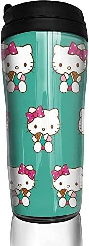 Blaue Hello Kitty Kaffeetassen, Doppel-Reisebecher, Wärmer mit Deckel, Kunstflasche, Kaffeebecher für Eisgetränke und Heißgetränke, 350 ml