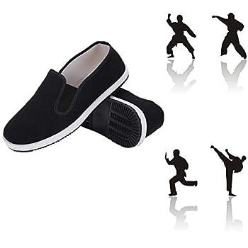 ZTMDF Unisex Kung Fu Shoes,Tai Chi Martial Art Cotton Shoes,Non-Slip wear-Resistant Natural Rubber White Sole  Numeric_12