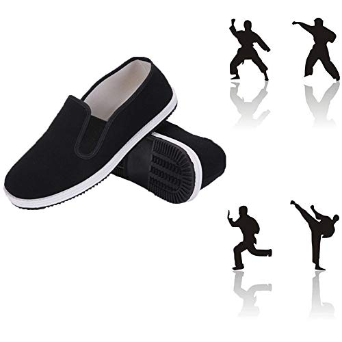 ZTMDF Unisex Kung Fu Shoes,Tai Chi Martial Art Cotton Shoes,Non-Slip wear-Resistant Natural Rubber White Sole (Numeric_8_Point_5)