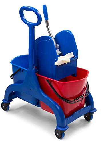 Denox DEN345 Carro Limpieza Profesional 50L. Doble, Rojo/Azul, 650x410x880 mm