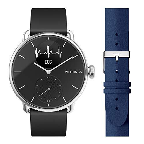 Withings ScanWatch - Reloj Inteligente híbrido con ECG, tensiómetro y oxímetro, 38 mm, Color Negro + Correa para Unisex Adulto, Azul Marino y Hebilla Plateada, 36 mm