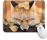 ZOMOY マウスパッド 個性的 おしゃれ 柔軟 かわいい ゴム製裏面 ゲーミングマウスパッド PC ノートパソコン オフィス用 デスクマット 滑り止め 耐久性が良い おもしろいパターン (動物のキツネの肖像画の葉)