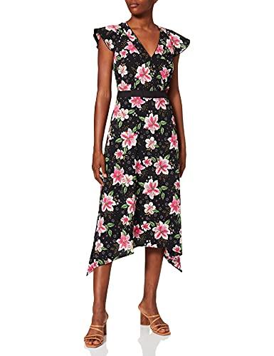 Marca Amazon - find. Mujer Vestido Midi Cruzado de Flores