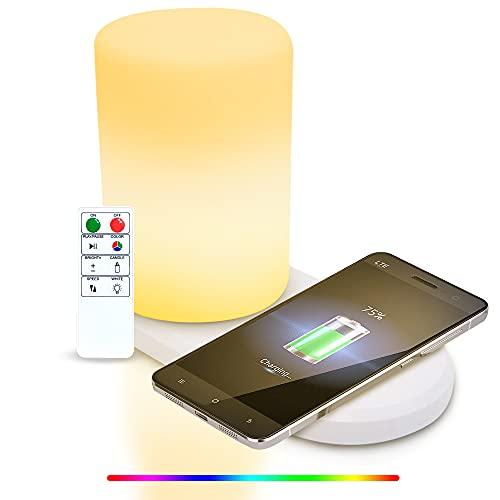 Lámpara de noche con cargador inalámbrico, lámpara de mesa inalámbrica, regulable RGB que cambia de color lámpara de mesa con control remoto para dormitorio, sala de estar y oficina
