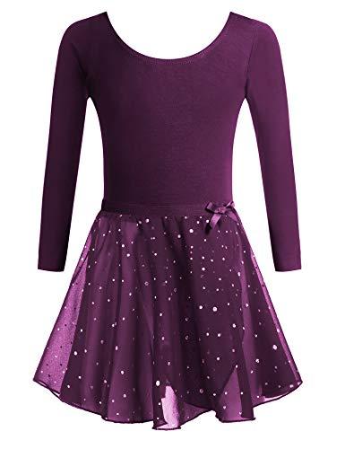 Zaclotre Girls Two-Piece Long Sleeve Ballet Dance Dress Glitter Tutu Skirted Leotard (Deep Purple, 3-4T)