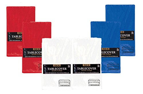 Patriotic Rectanglular Party Tablecovers - 6 Pack Bundle of (2) Red, (2) White and (2) Blue Disposable Plastic Tablecloths