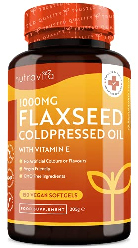 Flaxseed Oil 1000mg Vegan Softgels - Flaxseed Coldpressed Oil with Vitamin E - Provides Alpha-Linolenic Acid (Omega 3) and Linoleic Acid (Omega 6) - 5 Month Supply - Made in The UK by Nutravita