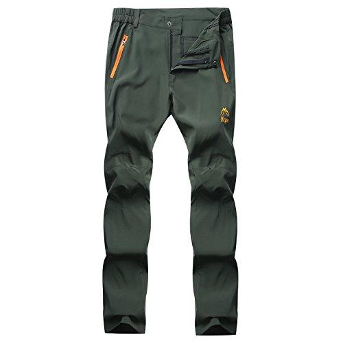 LUI SUI Pantalon de randonnée Softshell élastique à séchage Rapide pour Hommes en Plein air Escalade de Montagne Trekking Course Marche Pantalon d'athlétisme